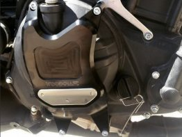 60-0403RC  Woodcraft Billet Alum.  RIGHT SIDE  Clutch Cover Protector Assembly - BLACK - '15-'19 Yamaha R3
