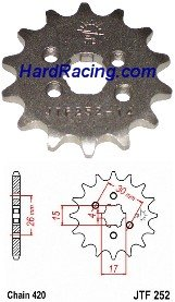 JTF252-xx    JT 420 Front Steel Sprocket - '13-'20  Honda GROM / GROM SF