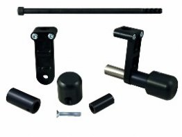 50-0652  Woodcraft Frame Sliders - Ducati '13-15 Hypermotard 821   Frame Slider Base Kit (Black Plastic Pucks included)