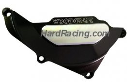 60-0403LCB Woodcraft Billet Alum. LEFT SIDE Stator Cover Protector - BLACK - '15-'19 Yamaha R3 (PROTECTOR ONLY)