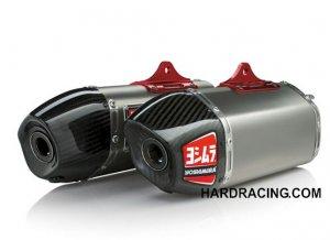 Dual Yoshimura RS-9T Complete Exhaust with Titanium Header Signature//Titanium with Carbon Fiber End Cap for 18-19 Honda CRF250R